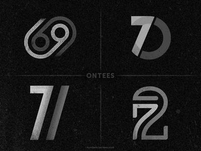 Numbers 69 to 72 on tees