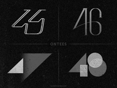 Numbers 45 to 48 on tees