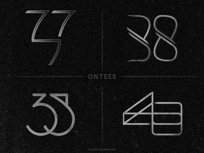 Numbers 37 to 40 on tees