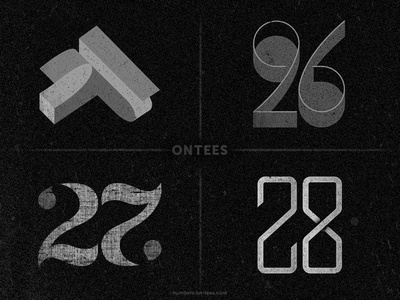Numbers 25 to 28 on tees