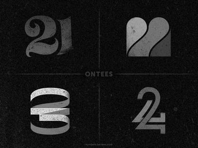 Numbers 21 to 24 on tees