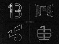 Numbers 13 to 16 on tees