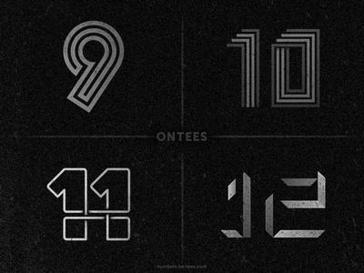 Numbers 9 to 12 on tees