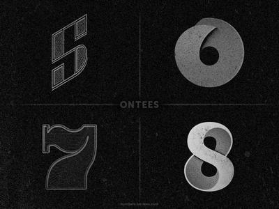 Numbers 5 to 8 on tees