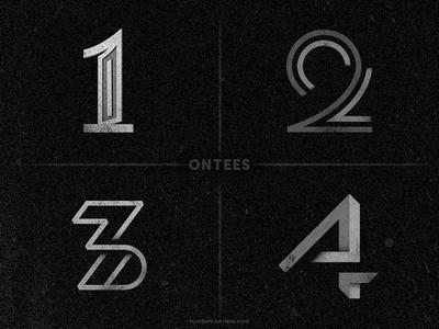 Numbers 1 to 4 on tees