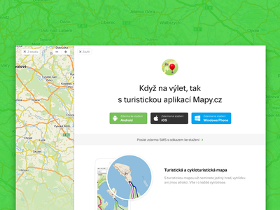 Mapy.cz - Apps web flat design tourist microsite clean ui android ios app site maps