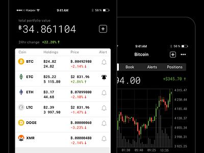 Blockfolio redesign concept ux ui simple mobile minimal ios clean blockchain bitcoin app
