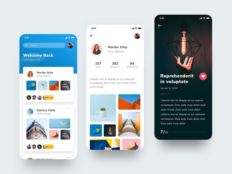 Photographer + profile app branding design minimal ux ui app
