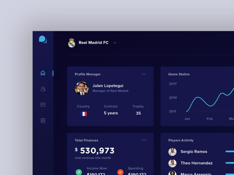 Soccer Information Dashboard dashboard branding typography ux ui design