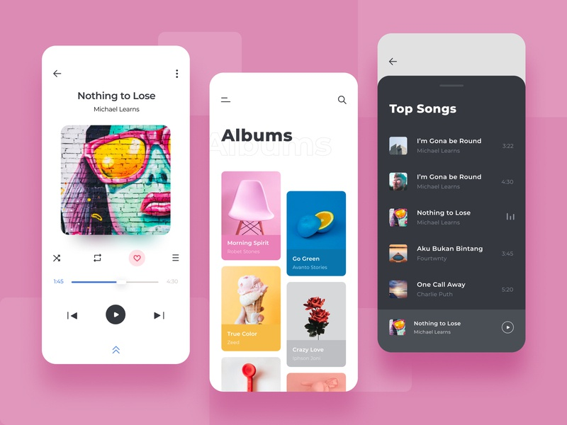 Music Player App character brand icon typography minimal branding clean design ux ui app