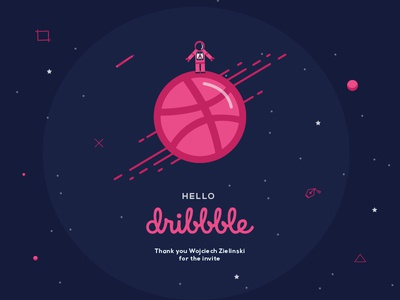 Hello Dribbble thank you first shot illustration space pink invitation hello debut