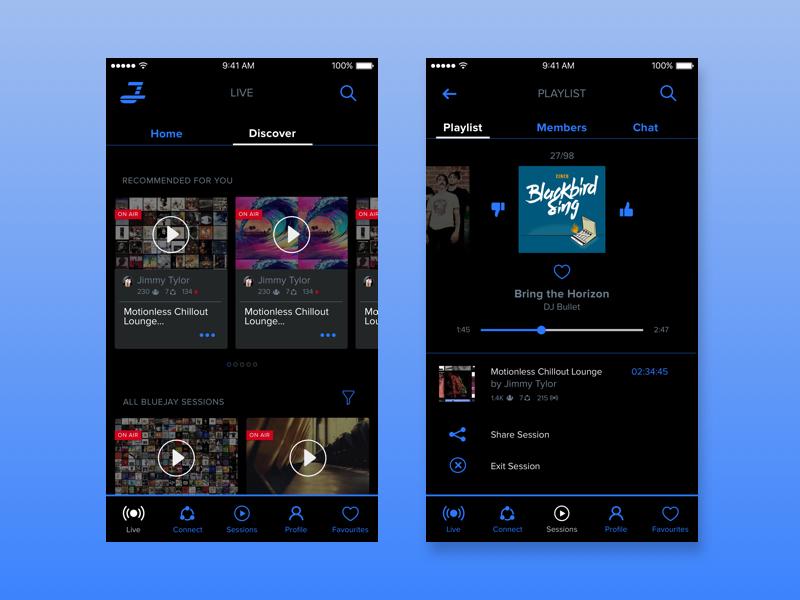 Social Radio App web black blue radio music app mobile ux ui