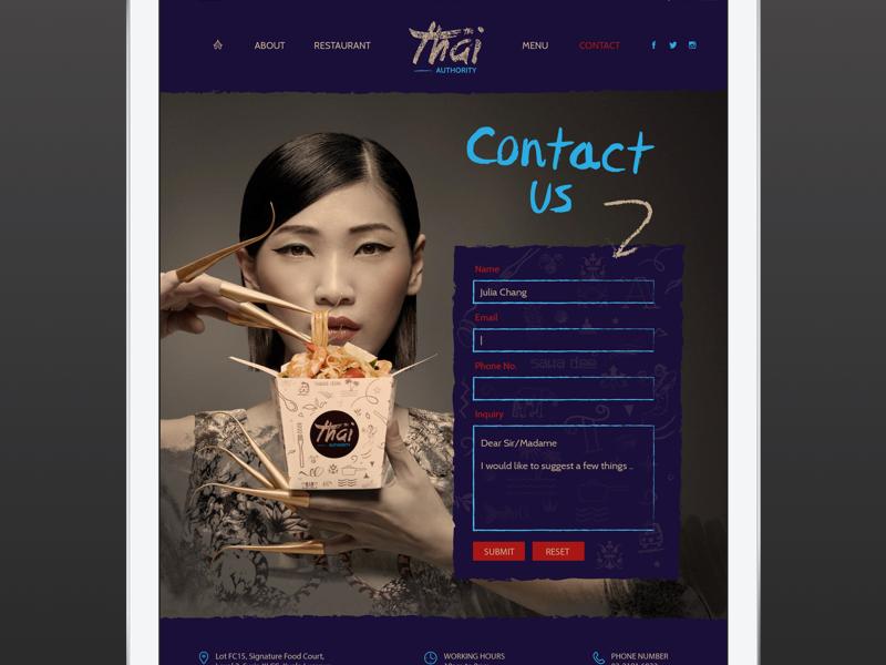 Contact Us navigation food blue form contact web branding ux ui