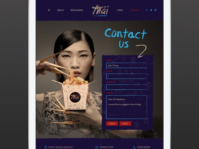 Contact Us navigation food blue form contact web branding ux ui