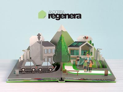 Andorra Regenera illustration 3d flipbook andorra pop up book
