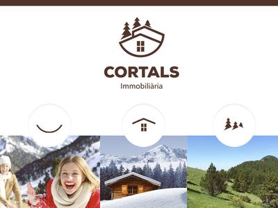 Immocortals real estate branding real estate house pine forest smile mountain branding logo andorra