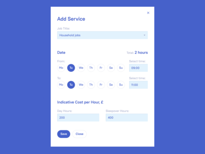 Adding form for Services planner web app