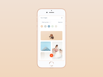 Gallery filter neat minimal pastel grid gallery mobile interface ui ux