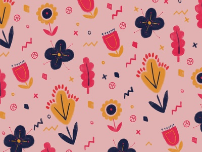 Hello Dribbble! surface design floral graphic wallpaper art vector print texture hand-drawn pattern debut illustration
