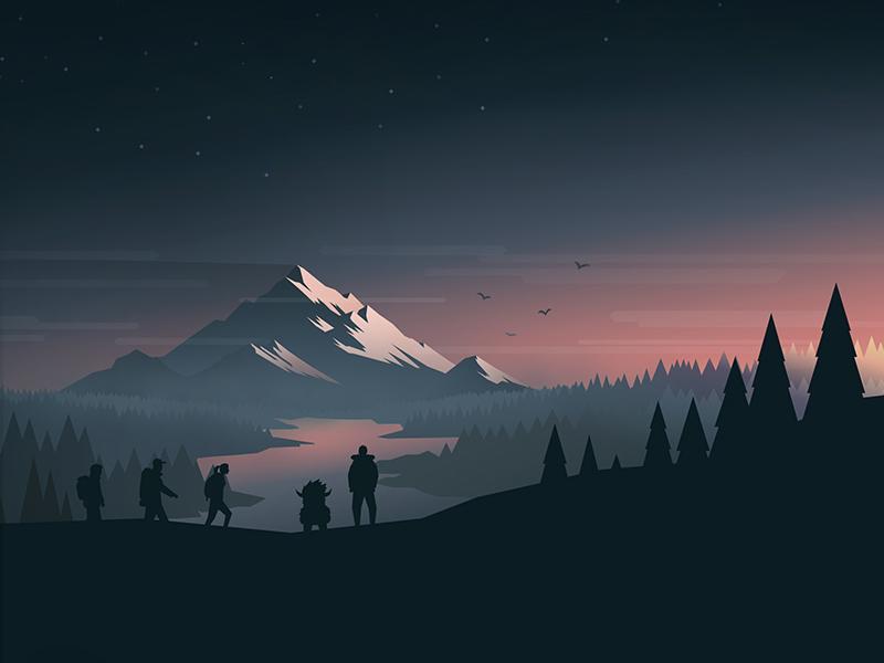 World Domination sunlight mood river trees mountain peak hiking outdoors illustration