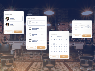 Barber Shop Reservation Modal ux userflow hairsaloon reservation multi step modal haircut barber