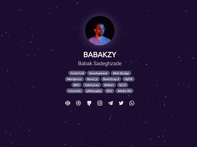 My New Personal Website babakzy avatar personal developer space dark dark ui