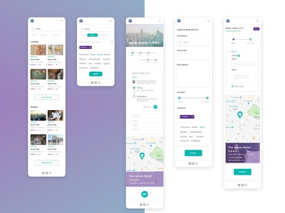 Brand and UI design for a travel app. brand travel app app design user interface design ui freelance designer design logo