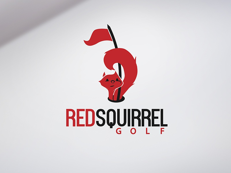 Logo for a golf course with a lot of red squirrels   :) flag fun squirrel animal cute golf