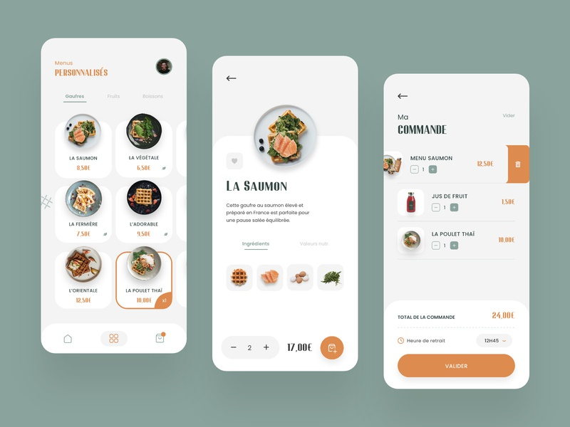 Waffles Restaurant App - Food Ordering restaurant healthy plate mobile list process waffles navigation menu ux design ui design order ordering delivery food mobile app ux ui design