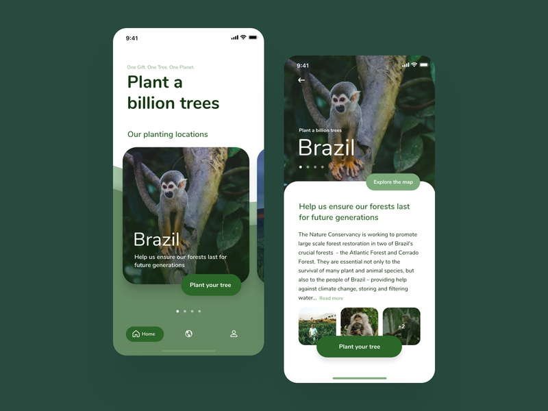 Forest Restoration App Concept - Plant A Billion Trees design menu button forest plant a billion trees plants planet animals ecology trees mobile app ux ui