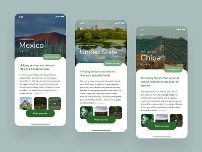 Forest Restoration App Concept - Planting Locations forest plant a billion trees button design infos ecology planet donation donate forest restoration mobile app design ux ui