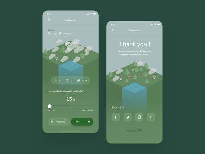 Forest Restoration App Concept - Donation isometric donation donate ecology planet forest mobile design dataviz illustration ux ui plant a billion trees