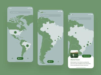 Forest Restoration App Concept -  Map design app planet forest donate mobile map plant a billion trees donation ux ui