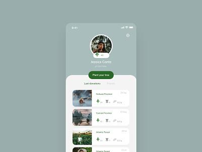 Forest Restoration App Concept - Profile ecology donation ux ui donate app mobile profile plant a billion trees forest design