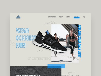 Connected Shoes - Landing Page Concept branding adidas running design ui ux landing concept connected shoes sneakers shoes web website webdesign
