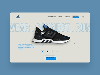 Connected Shoes - Website Concept ui design ux design shop running connected shoes sport shoes sneakers desktop webdesign web ux ui design