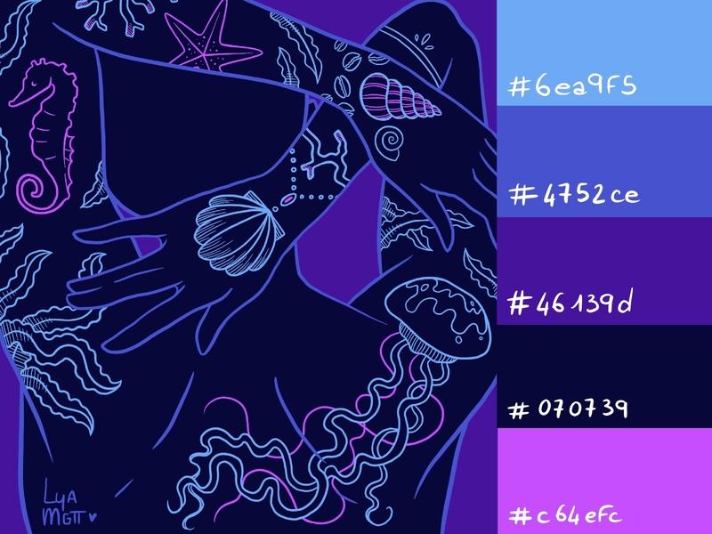 Color palette #001 - Ocean tattoos palette challenge color palette challenge challenge procreate illustration colors color palettes color palette