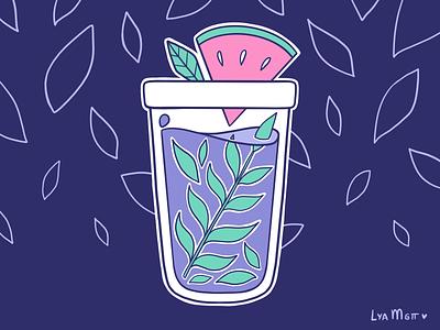 Summer Ice Tea charms stickers sticker pastel illustrator illustration flat challenge color palettes color palette procreate