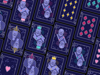 54 Card Game Project spatial galaxy jack jeu de cartes queen king flat card deck card games card game card design cards illustration color palette procreate