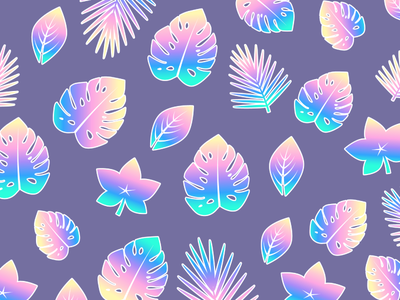 Tropical Pattern flat leaves wallpaper pattern