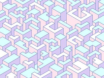 3D Isometric City 3d isometric pastel illustrator