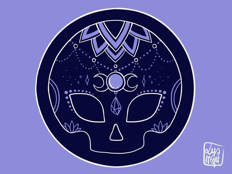 Witch Skull Coasters moon purple sugar skull mandala sticker mule sticker procreate skull witch