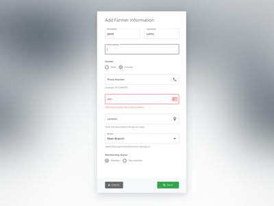 Add farmer information form