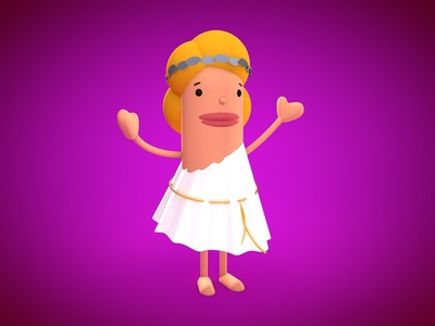 Afro aphrodite greek goddess 3d character design game cinema4d animation cartoon