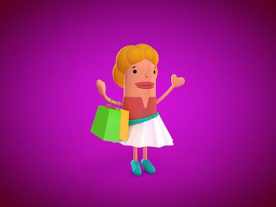Avmo character design cartoon game cinema 4d 3d illustration shopping girl woman