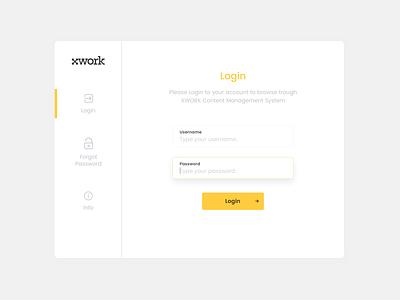 XWORK - CMS Login Page login landing uiux user experience user interface shot debut design apps cms ux ui