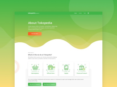 Tokopedia - About clean website landing page landing about layout user experience user interface uiux ux ui tokopedia