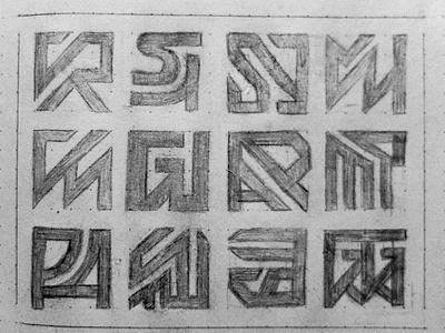 Monogram Sketching Exploration project draft collection logos symbol icon craft authentic original sketching idea exploration sketch clean identity branding modern logo mark monogram