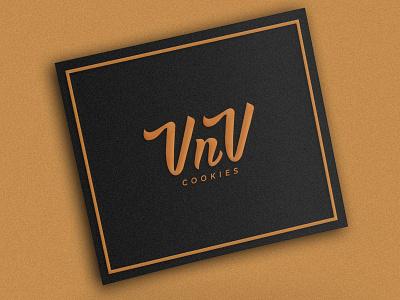 VnV Cookies icon identity modern simple logo mark brand identity handlettering handwriting pastry logo branding rebranding branding cookies