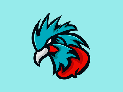 Blue Rooster Esport Mascot professional gaming gaming channel gaming mark animal birds bird logo esport mascot dota 2